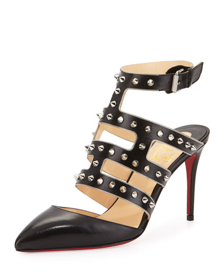 Christian Louboutin Tchicaboum Studded Leather Pump, Black/Silver