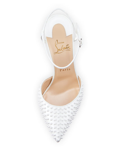 christian louboutin shoes with spikes - Christian Louboutin Baila Spike Leather Red Sole Pump, White