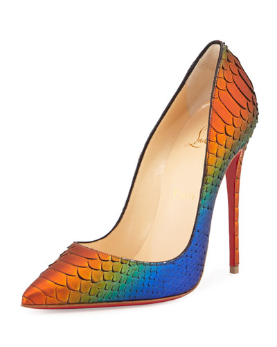 So Kate Python 120mm Red Sole Pump, Cappucine