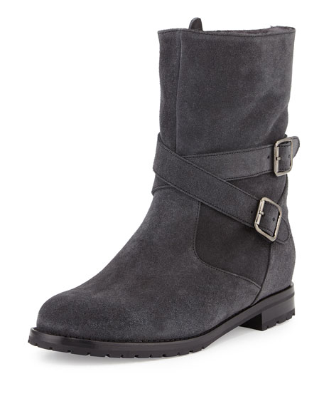Manolo Blahnik Campocross Shearling-Lined Crisscross Buckle Boot,