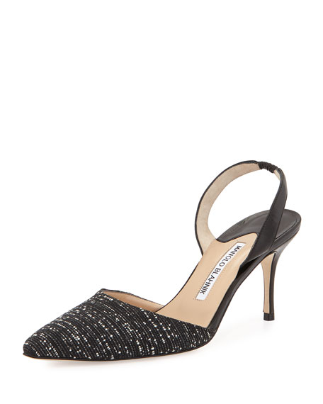Manolo Blahnik Carolyne Tweed Mid-Heel Halter Pump, Black/White