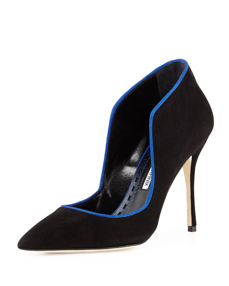 Manolo Blahnik Espedal Suede High-Collar Pump, Black