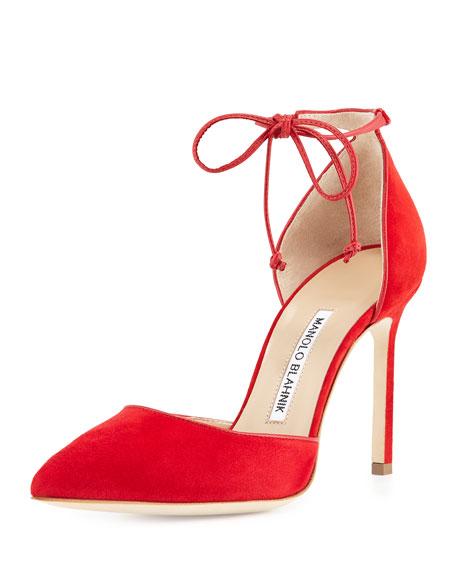 Manolo Blahnik Leyan Suede Ankle-Tie d'Orsay Pump, Red