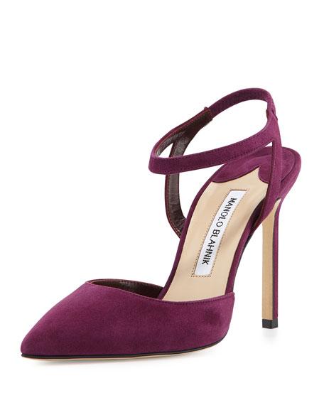 Manolo Blahnik Minis Suede Ankle-Strap Pump, Cranberry