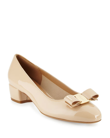 Salvatore Ferragamo Patent Low-Heel Pump, New Bisque