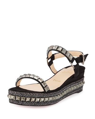Cataclou Studded Red Sole Demi-Wedge Sandal, Black/Dark Gunmetal