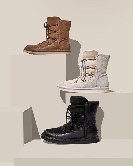 Lodge Fur-Lined Lace-Up Boot, Moonrise
