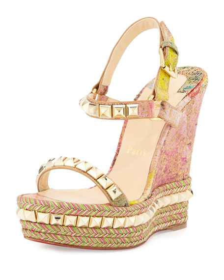 Christian Louboutin Cataclou Cork Wedge Red Sole Sandal, Multi/Light Gold