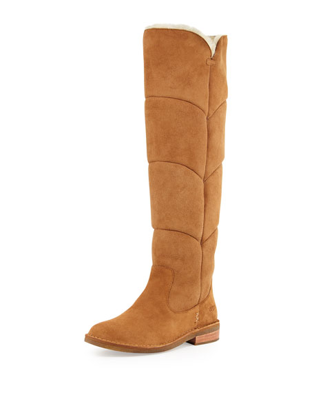 Samantha Quilted Tall Boot, Chestnut