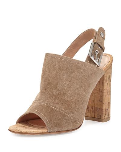 Suede Slingback Mule Sandal, Bisque