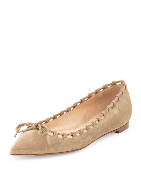 Suede Laced-Collar Ballerina Flat, Bisque