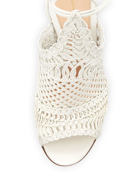 Allyson Leather Woven Net Sandal, Off White