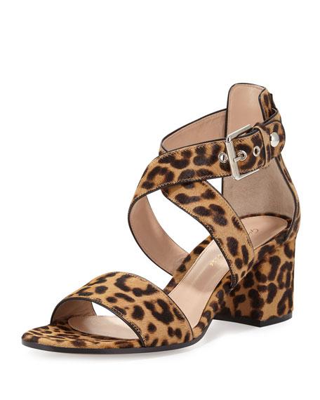 Gianvito Rossi Leopard-Print Calf-Hair Crisscross Sandal,