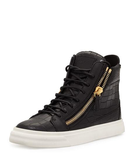 Giuseppe Zanotti Crocodile-Embossed High-Top Sneaker, Nero