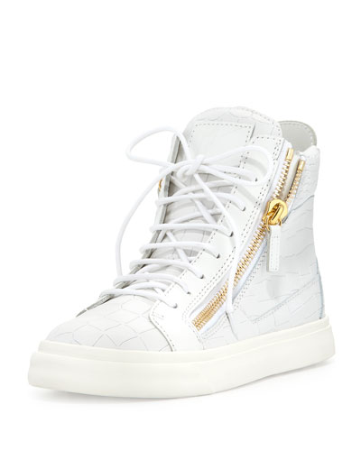 Crocodile-Embossed High-Top Sneaker, Bianco