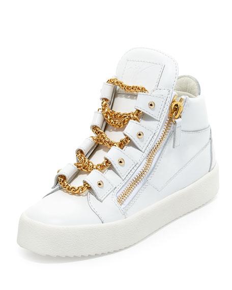 Giuseppe Zanotti Chain Leather Mid-Top Sneaker, Bianco