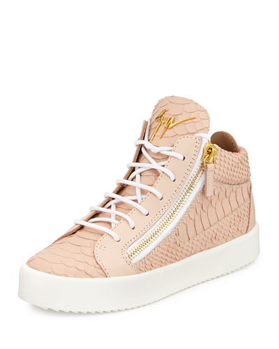 Snake-Embossed High-Top Sneaker, Golia Print Rosa