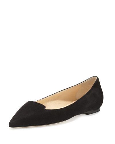 Attila Suede Pointed-Toe Flat, Black