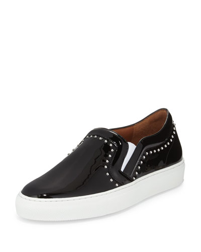 Studded Patent Leather Skate Shoe, Black