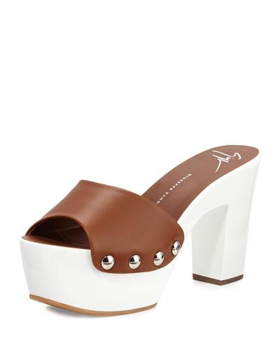 White Wall Leather Platform Clog Sandal, Tan