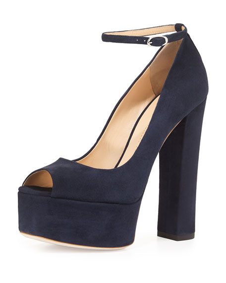 Suede Peep-Toe High-Heel Pump, Navy