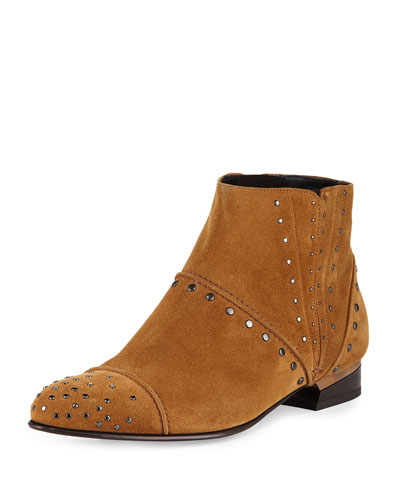 Studded Suede Chelsea Boot, Camel