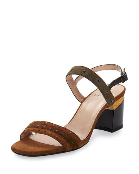 Lanvin Studded Suede City Sandal, Camel