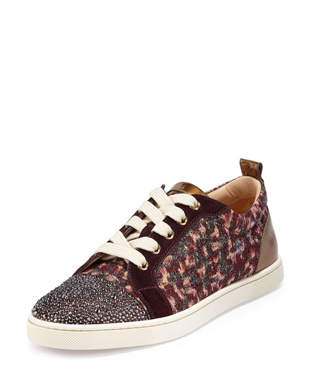 Christian Louboutin Gondola Strass Low-Top Sneaker, Burgundy