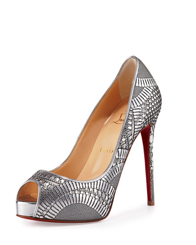 Suellena Laser-Cut Peep-Toe Red Sole Pump, Silver