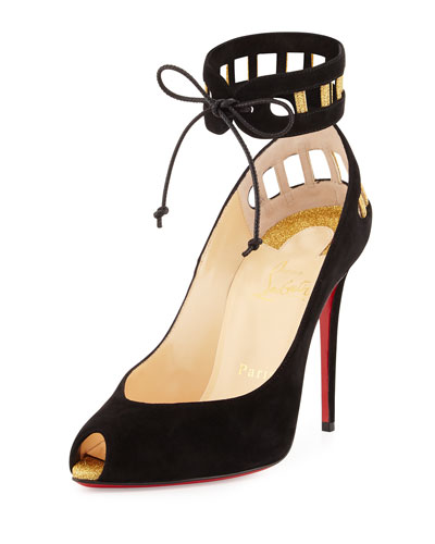 Neotrente Caged Peep-Toe Red Sole Pump, Black/Gold
