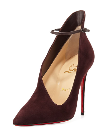 Christian Louboutin Vampydoly Suede Red Sole Half-Bootie, Burgundy