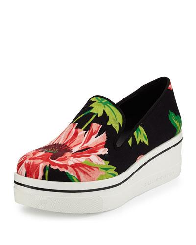 Binx Floral-Print Slip-On, Rose/Grass