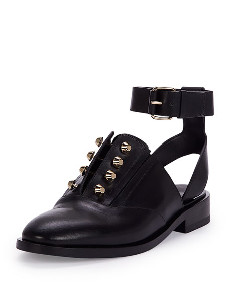 Studded Leather Derby Flat, Black (Noir)