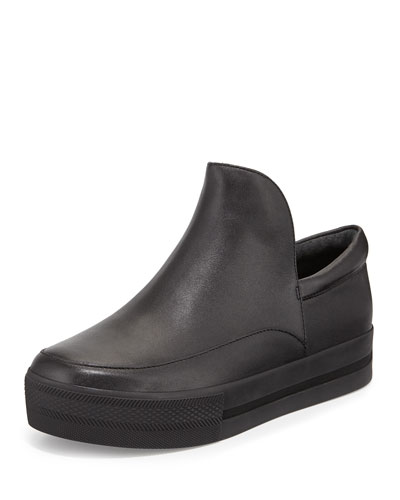 Jack Tall-Tongue Leather Sneaker, Black