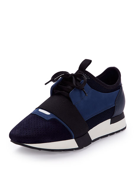 Mixed-Media Leather Lace-Up Sneaker, Blue