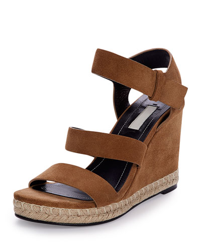 Three-Strap Suede Wedge Sandal, Hazelnut