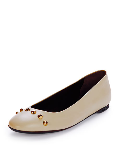 Studded Leather Ballerina Flat, Powder (Poudre)