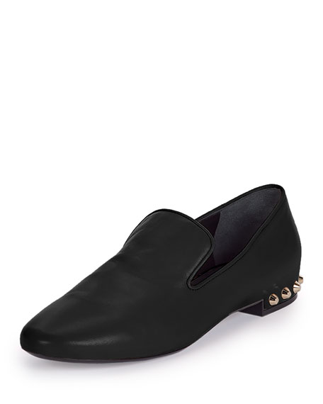 Balenciaga Studded-Heel Smoking Slipper, Black (Noir)