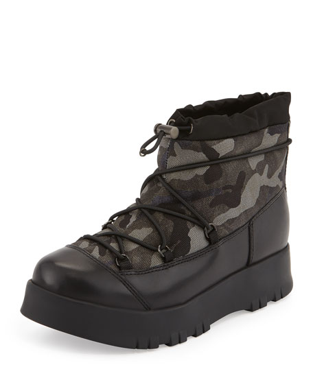 Prada Drawstring Camo Hiking Boot, Smoke (Fumo)