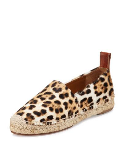 Calf-Hair Espadrille Flat, Snow Leopard