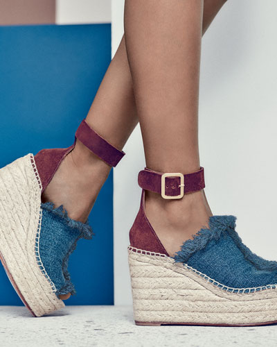 Chloe Frayed Denim Espadrille Sandal, Blue/Coffee
