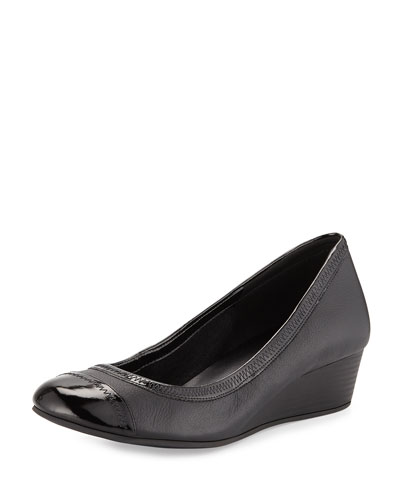 Elsie Cap-Toe Wedge Pump, Black
