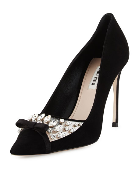 Miu Miu Decollete Jeweled Pointed-Toe Pump, Nero