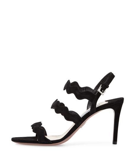 Suede Wavy Strap Sandal, Black (Nero)