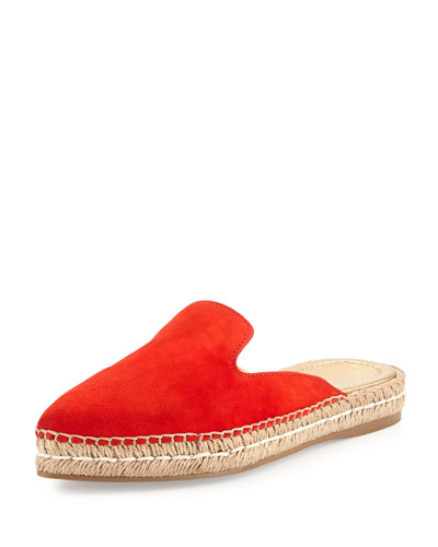 Suede Espadrille Mule Flat, Lacquer (Lacca)