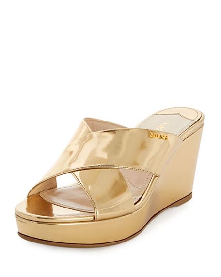 Prada Metallic Crisscross Sandal Slide, Platino