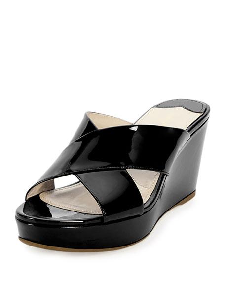 Prada Patent Crisscross Sandal Slide, Black (Nero)