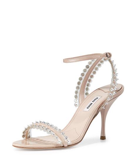 Miu Miu Patent Jeweled PVC Ankle-Wrap Sandal, Cipria