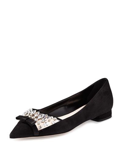 Ballerine Jeweled Pointed-Toe Ballerina Flat, Nero