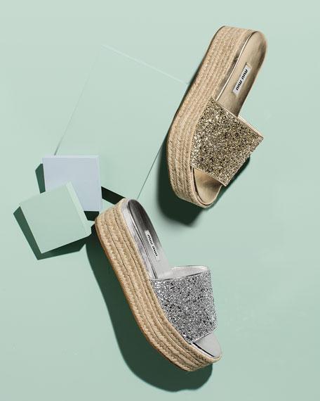 Miu Miu Glitter Platform Espadrille Sandal Slide